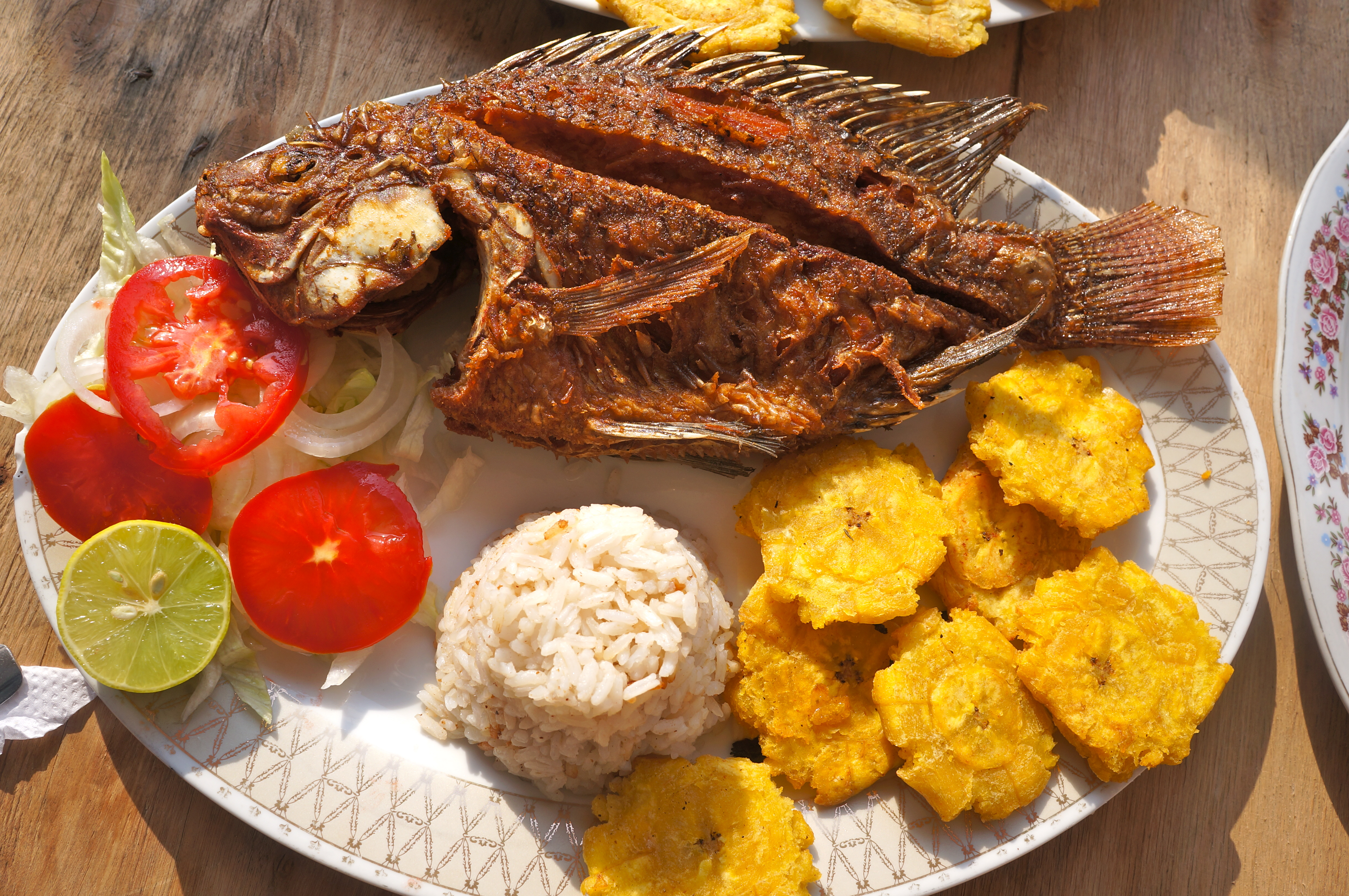 Photo taken in La Boquilla, Colombia. A traditional dish of fried red snapper, plantains and coconut rice.
